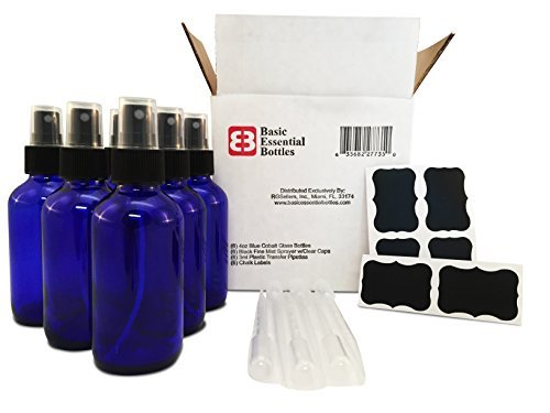 (6) 4 Ounce 4 Oz Empty Cobalt Blue Glass Bottles W/Black Fine Mist Sprayer (6) 3Ml Pipettes (6) Chalk Labels For Essential Oils, Cleaning Products, Aromatherapy