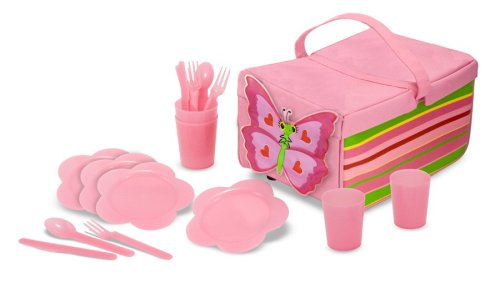 Melissa & Doug Sunny Patch Bella Butterfly Picnic Set With Basket, Plates, And Utensils