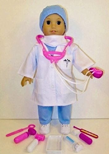 10 Piece Nurse, Doctor, Scrubs Doll Clothes And Medical Kit Fits 18 Inch American Girl Doll