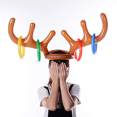 Aland Children Kids Adult Christmas Inflatable Deer Elk Horn Cap Toys Xmas Party Decor Inflatable Antlers Christmas Festival Pvc Antlers Inflatable Cap Yellow Children