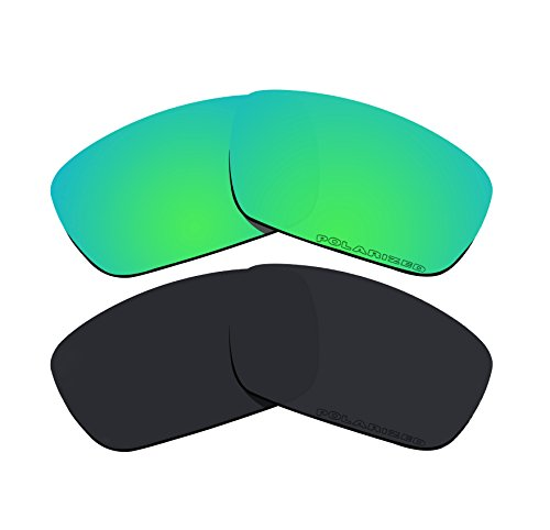 2 Pairs Polarized Replacement Lenses Green &Amp; Black For Oakley Crankshaft Sunglasses