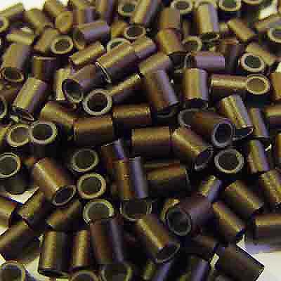 500 Pcs 3.5 Mm Dark Brown Color Copper Silicone Lined Tube Micro Ring For I Tipped Human Hair Extension