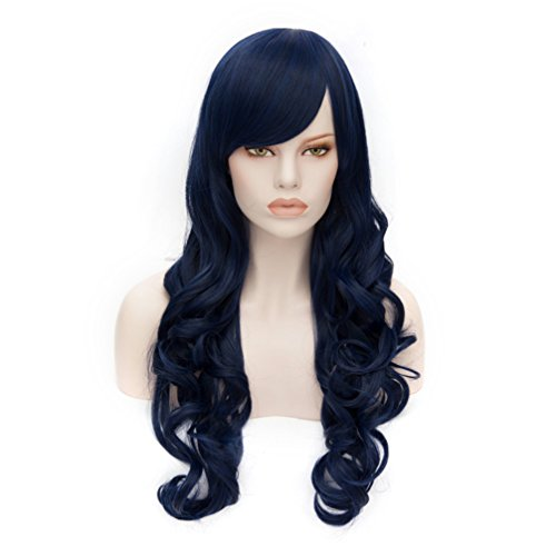 70Cm Long Dark Blue Stylish Women Curly Lolita Anime Heat Resistant Cosplay Wig