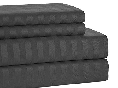 Addy Home 4 Piece T500 100% Egyptian Cotton Damask Stripe Set, Queen, Charcoal