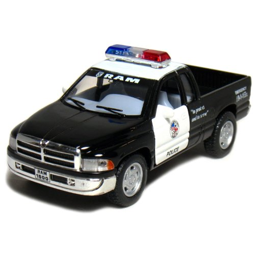 5 Dodge Ram Police Pickup Truck 1:44 Scale (Black/White) By Kinsmart
