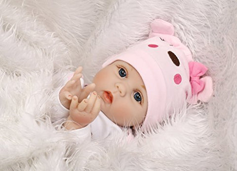 Sanydoll Reborn Baby Doll Soft Silicone 22Inch 55Cm Magnetic Lovely Lifelike Cute Lovely Baby Pink Cute Doll Birthday Gift