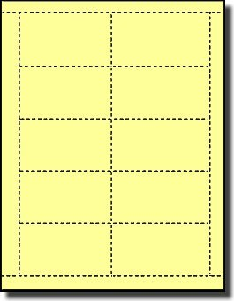 200 Label Outfitters Canary Yellow Laser And Inkjet Printable Business Card Stock, 20 Sheets
