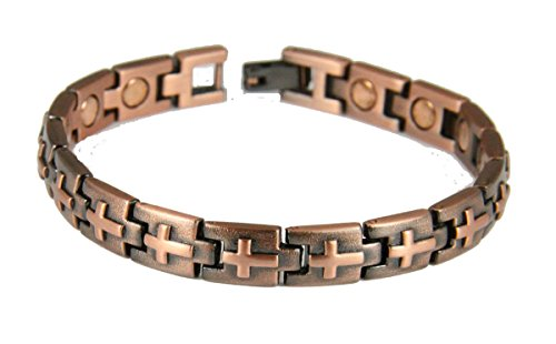 4031721 Copper Magnetic Link Bracelet Christian Cross Scripture Verse Health