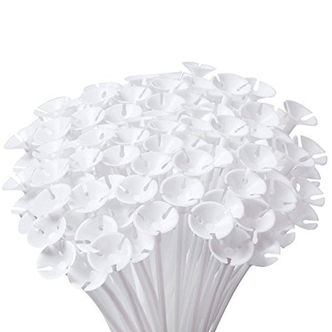 1Pack(100Pcs) White Plastic Balloon Safety Holder Sticks Holders With Cups For Wedding, Party, Holidays, Anniversary Decor (White)