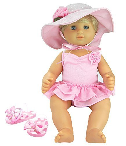 3 Pc Set, 15 Inch Doll Clothes, Light Pink Flip Flops, Polka Dot Hat, Ballet Bathing Suit | Gift Bag Included For Bitty Baby Dolls &Amp; More!