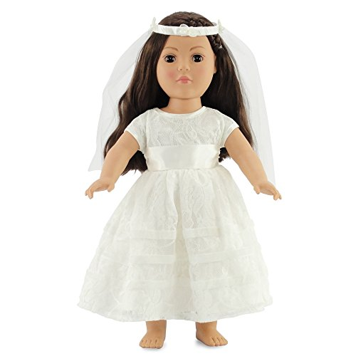 18 Inch Doll Bridal Gown | Communion Dress Or Wedding | Fits 18 American Girl Dolls Clothes