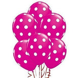 12 Hot Pink Dot Polka Dot Balloons - Made In Usa