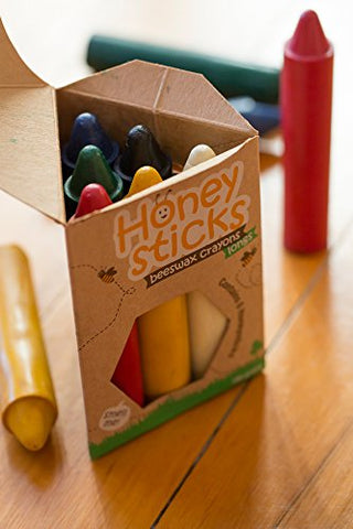 Honeysticks 100% Pure Beeswax Crayons (6 Pack, Longs) Natural, Non Toxic, Safe For Toddlers, Kids And Children, Handmade In New Zealand, For 3 Years Plus