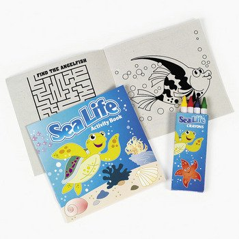 12 ~ Sea Life Tropical Fish Activity Coloring Books With Crayons ~ New