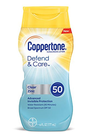 Coppertone Defend & Care Clear Zinc Sunscreen Broad Spectrum Spf 50 Lotion, 6 Fluid Ounces