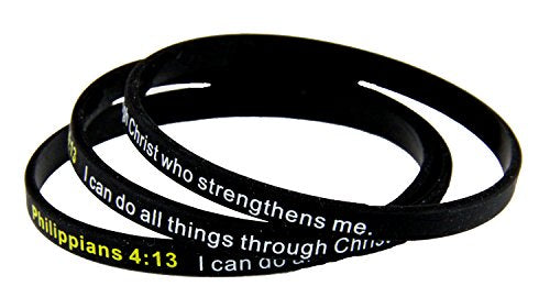 8130003 Set Of 3 Philippians 4:13 Thin Silicone Bracelet Band I Can Do All Things
