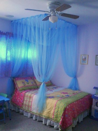 4 Poster / Four Corner Teal Blue Bed Canopy Mosquito Net Full Queen King