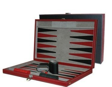 18 Faux Leather Backgammon Recreational Game Set, Black/Red