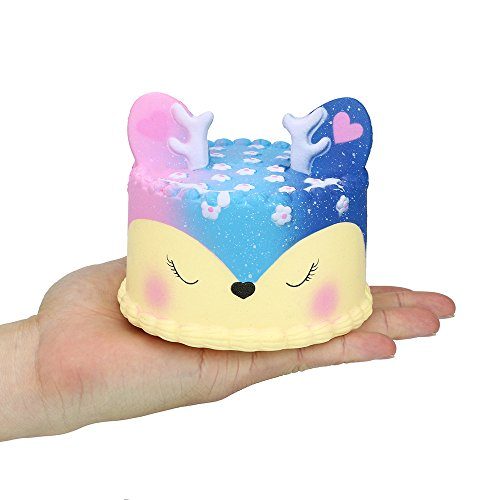 Christmas Best Toy Gift!!!Kacowpper Galaxy Jumbo Deer Cake Slow Rising Scented Squeeze Stress Relief Toy Collection