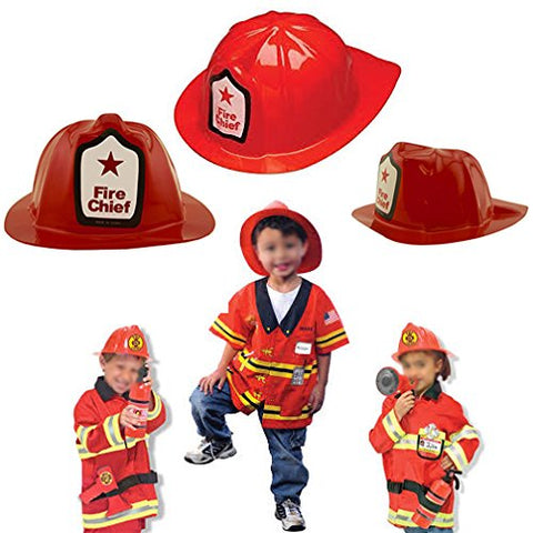 Adorox Red Firefighter Chief Soft Plastic Childs Hat Helmet Fireman Costume Birthday Party Favor Kids Cap Halloween Toy (24 Red Hats)