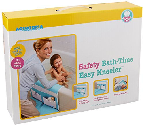 Aquatopia Safety Bath Time Comfy Cushioned Easy Kneeler With Skid-Resistant, Detachable Elbow Rest And Organizer, Blue
