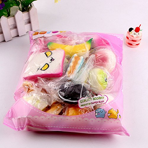 10Pcs Zakally Squishy Toy Soft Exquisite Medium Mini Soft Bread Scented Stress Relief Toy Soft Toy Kawaii Collection Slow Rising Toy Decompression Simulationtoys Cure Toy For Kid Gift 2018 Toys