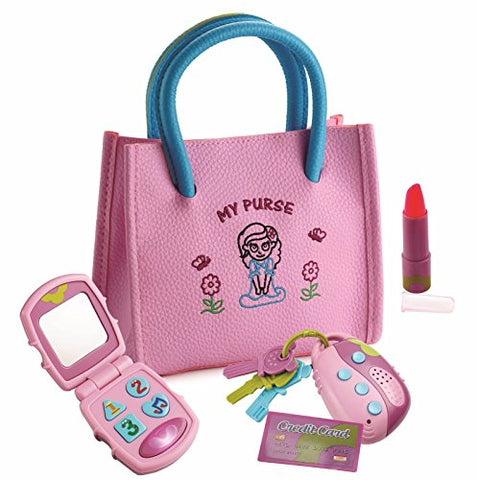 Playkidz My First Purse  Pretend Play Kid Purse Set For Girls With Handbag, Flip Phone, Light Up Remote With Keys, Play Lipstick &Amp; Kids Credit Card  Great Educational Toy For Fun &Amp; Learning
