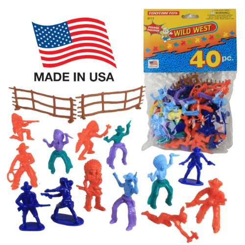 Tootsietoy Cowboy & Indian 40Pc Set: 1.75In Western Figures & Fences - Made Usa!