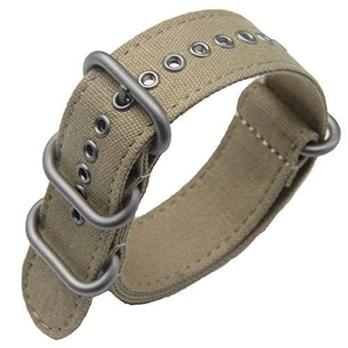 22Mm Khaki Deluxe Premium Nato Style Sturdy Exotic Soft Canvas Sport Men'S Wrist Watch Band Wristband
