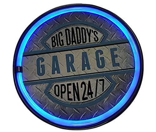 Big Daddy'S Garage Open 24/7 Led Sign, 12  Round Bottle Cap Shaped   Shaped Sign, Led Light Rope That Looks Like Neon, Wall Decor For Man Cave, Garage, Bar