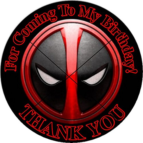 12 Deadpool Superhero - Birthday Party Favor Stickers/Labels For Gift, Goody Treat Bag (2.5 Inches Circle Stickers, Bags Not Included)
