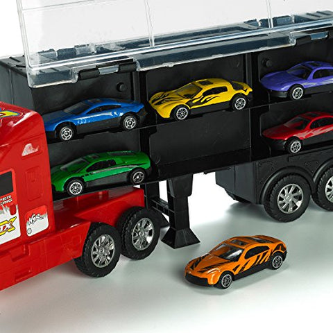 15 Carrier Truck Toy Car Transporter Includes 6 Metal Cars Toy For Boys Great Christmas Gift For Boys