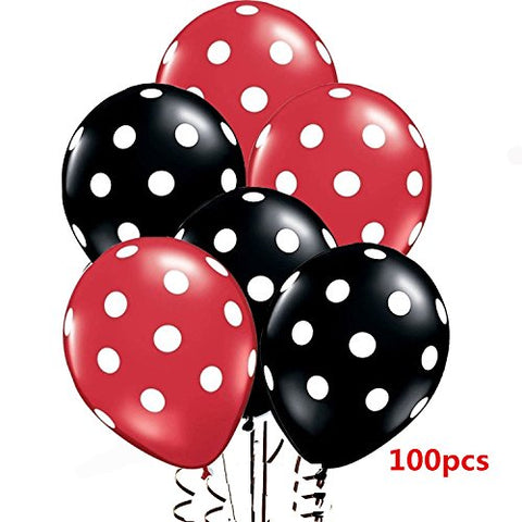 Wiswis 2017 12 Assorted Red And Black Balloons With White Polka Dots Latex Balloons For Parties, Birthdays, And Events - 100 Count