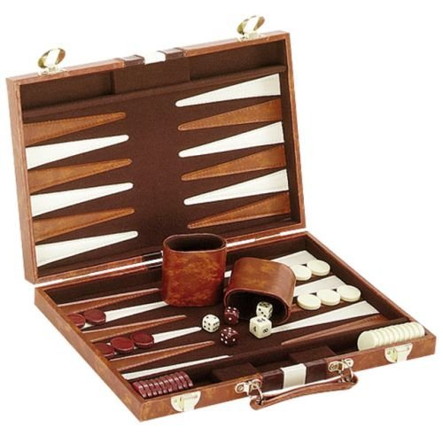 14.75 Recreational Board Game Vinyl Backgammon Set - Brown & White