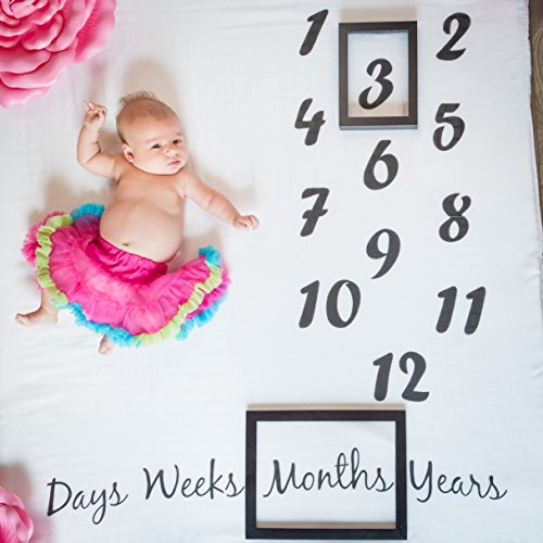 Danha Baby Milestone Blanket Monthly Photo Prop | Infant Baby Boy, Girl, Or Twin Photography Props | Large Muslin Swaddle Blankets | 47  X 47