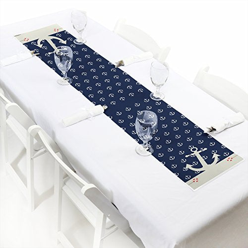 Ahoy - Nautical - Petite Baby Shower Or Birthday Party Table Runner - 12 X 60