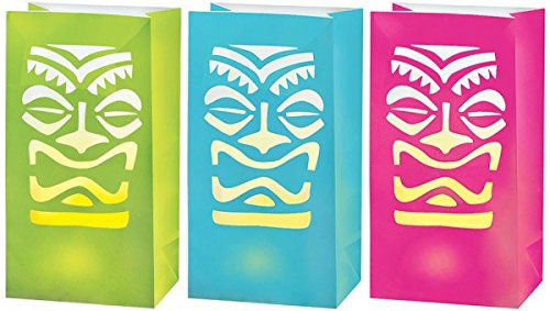 Amscan Sun-Sational Summer Luau Party Totem Led Luminaries Decoration , Multi Color, 12.4 X 6.3