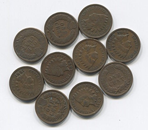 10 Antique Indian Head Pennies Cent Collection Lot W/ 2 Pre-1900S Nice Old Set