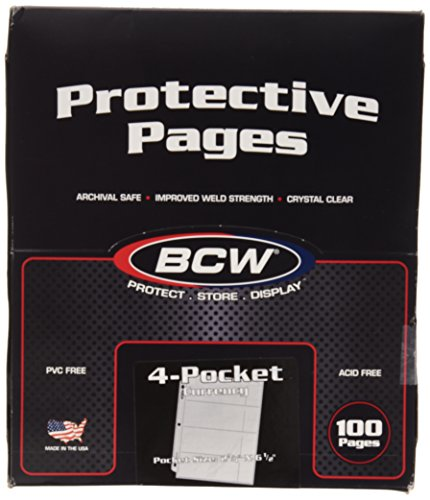 100 4-Pocket Currency Pages 2.75 X 6.5 Bcw New
