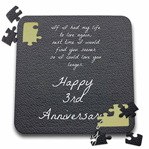 Brooklynmeme Love Saying - 3Rd Anniversary Love You Longer On Faux Leather-Like Background - 10X10 Inch Puzzle (Pzl_221894_2)