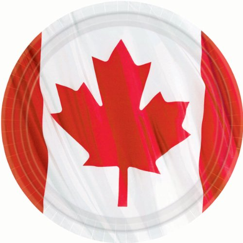 Amscan Waving Canadian Flag Dinner Plates Patriotic Party Disposable Tableware, Red/White, 10