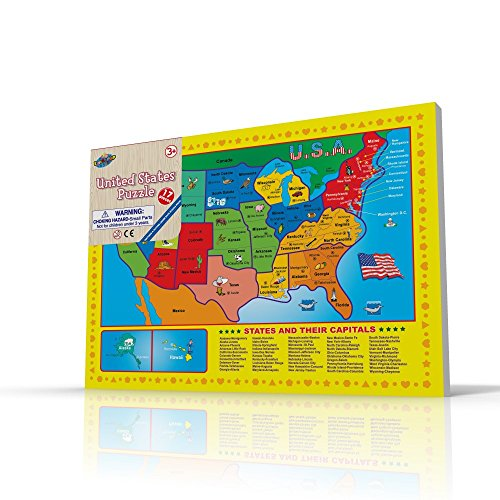 Usa Map Puzzle For Toddlers 17 Pc Large Size Us States With Cute - Cute-us-map
