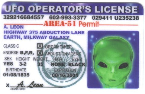 Ufo Operator'S License Id - Area-51 Permit