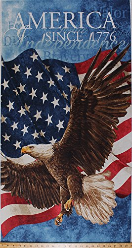 23.5  X 44  Panel Bald Eagle American Flag Old Glory Patriotic Fourth Of July Independence Day Red White Blue America Americana New Stars &Amp; Stripes Cotton Fabric Panel (39371-49)