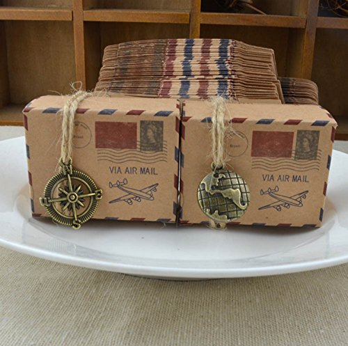 50Pcs Brown Kraft Diy Vintage Inspired Airmail Favor Box Kit Wanderlust Travel Candy Box With Globe And Compass Charms (Mixed Design)