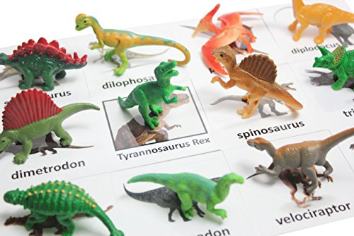 Montessori Dinosaur Figure Animal Match - Miniature Dino Figurines With Matching Cards - 2 Part Cards. Montessori Learning Toy, Language Materials