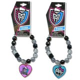 Set Of 2!!! Monster High Beaded Skull Charm Bracelet Includes One Of Each Pictured Crystal Beaded Stretch Bracelet