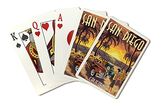 San Diego, California - Woodies On The Beach (Playing Card Deck - 52 Card Poker Size With Jokers)