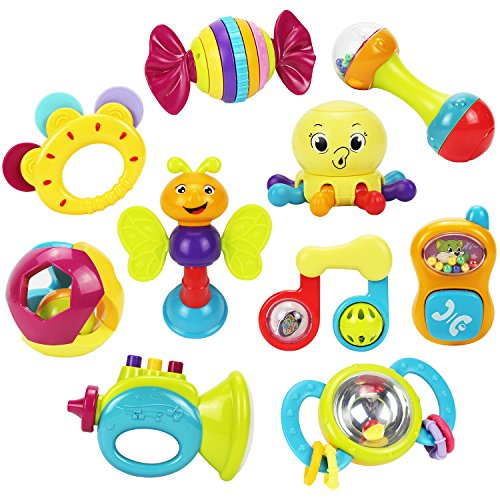 10 Baby Rattles Teether, Shaker, Grab And Spin Rattle, Musical Toy, Unique Gift Set, Early Educational Toys For 3, 6, 9, 12 Month Baby Infant, Newborn - Iplay, Ilearn