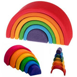 Grimm'S Small (Mini) 6-Piece Rainbow Nesting Wooden Blocks Stacker,  Elements  Of Nature: Air